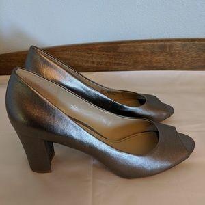 Naturalizer Carmen pewter peep toes, block heels